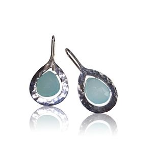 Sterling Silver Aquamarine Drops Earrings - earrings