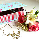 Retro Rose And Gingham Jewellery Box