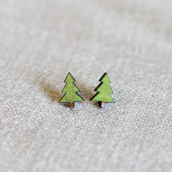 Wooden Tree Earrings