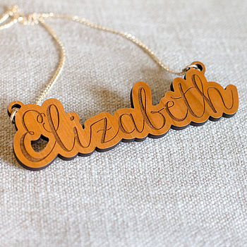 Personalised Wooden Name Necklace