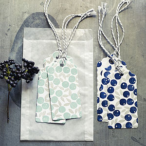 Six Berry Hand Printed Gift Tags