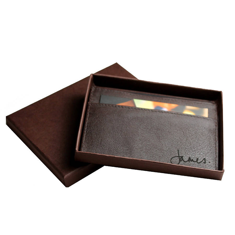 Personalised leather card holder by nv london calcutta personalised leather card holder example of handwritten engraving colourmoves