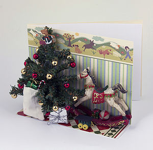 Rocking Horse 3 D Christmas Card - christmas cards