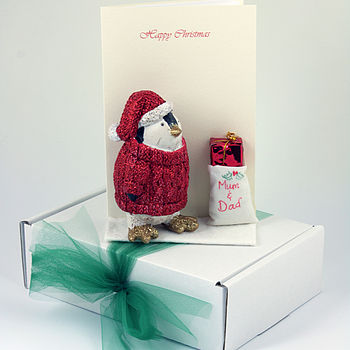 Personalised Penguin 3 D Christmas Card