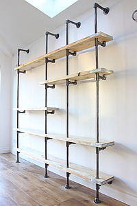 Scaffolding Board And Steel Pipe Shelving - living room