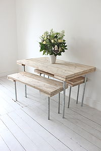 Pine Board And Steel Table And Benches - furniture
