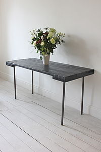 Reclaimed Wood And Steel Dining Table - furniture