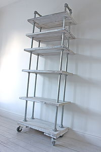 White Wood And Steel Bookcase On Castors - furniture