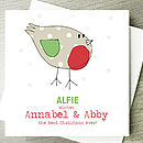 robin card with relations names (eg Annabel & Abby)