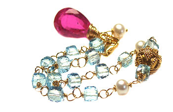 Blue Topaz And Pink Tourmaline Gold Bracelet