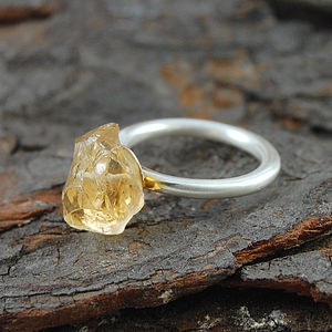 Citrine Rough Stone Ring - rings