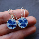 Pottery Shard Leaf Dot Earrings