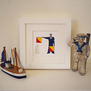Naval Semaphore Flag Letter Print - posters & prints