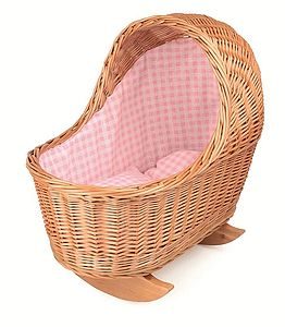 Pink Gingham Dolls Cradle