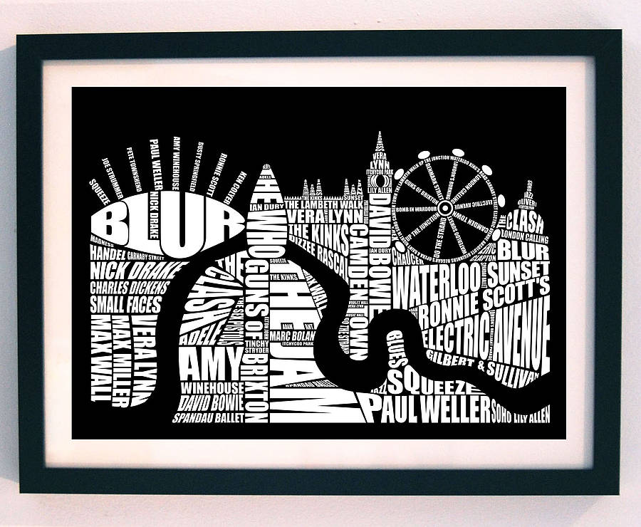 London music screenprint black and white a3 by lucy loves this
