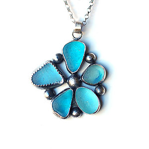 Five Petal Blue Sea Glass Flower Pendant