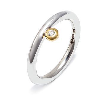 Offset Diamond Halo Ring