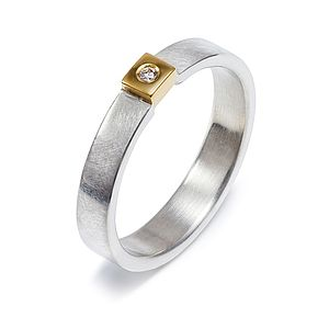 Silver And Gold Square Set Diamond Ring - gold & diamonds