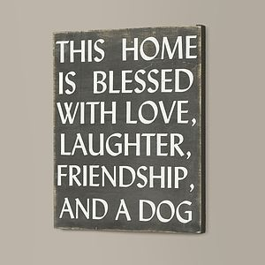 Love Laughter And Dog Wall Plaque - canvas prints & art