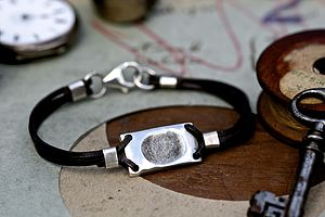 Fingerprint Tag Mens Bracelet