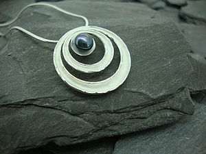 Saturn Ring Pearl Pendant - necklaces & pendants