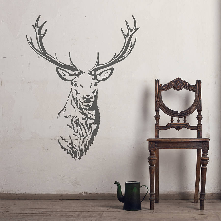 Wall Art Stickers Not On The High Street : Stag head vinyl wall sticker by oakdene designs