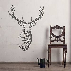 Stag Head Vinyl Wall Sticker - wall stickers