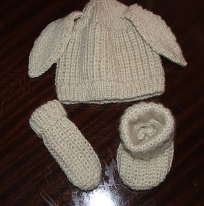 Bunny Ear Hat, Mittend And Booties