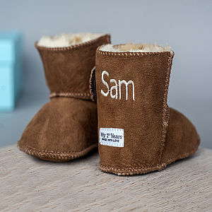 Personalised Suede Tan Sheepskin Booties - gifts under £50