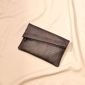 Grey Serpiente Envelope Clutch - clutch bags