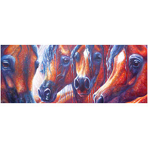Arabian Horses Wide Landscape Oil Painting - paintings & canvases