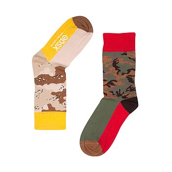 Fun Pair Of Odd Socks 'The Soldier' Red Top