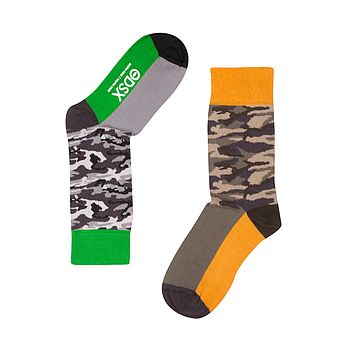 Fun Pair Of Odd Socks 'The Soldier' Green Top