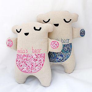 Linen And Liberty Fabric Secret Pocket Bear - soft toys & dolls