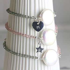 Personalised Coin Pearl Bracelet Silver - bracelets & bangles