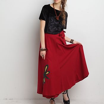 Dragonfly Wrap Skirt Red