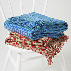 Popper Stripe Woven Wool Throw - throws, blankets & fabric
