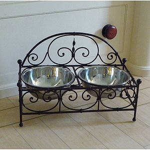 Double Dog Bowl Ornate Stand - food, feeding & treats