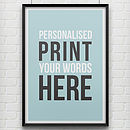 Thumb personalised print featuring your words