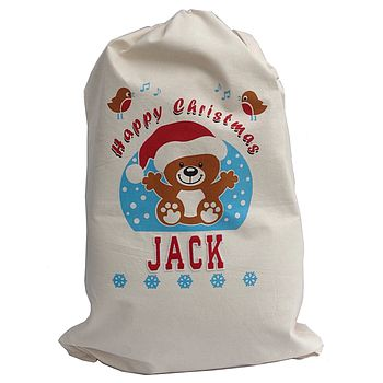 Personalised Teddy Christmas Sack