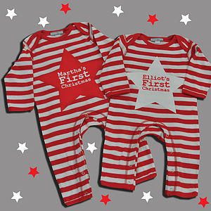 Personalised 'First Christmas' Star Romper