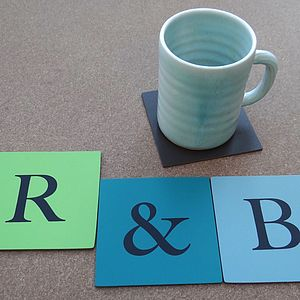 Typographic Leather Letters Coasters - placemats & coasters