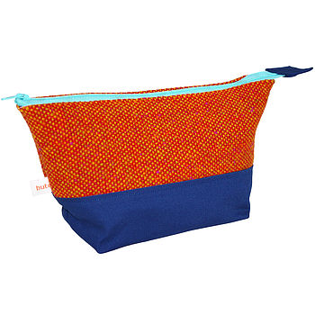 Orange Bute Tweed Cosmetic Bag
