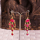 Ruby Gold Dangly Multi Stone Earrings