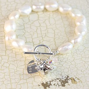 Handmade Rose And Nugget Pearl Bracelet