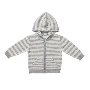 Baby's Cashmere Stripe Hooded Cardigan