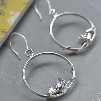 Sleeping Mouse Hoop Earrings Sterling Silver