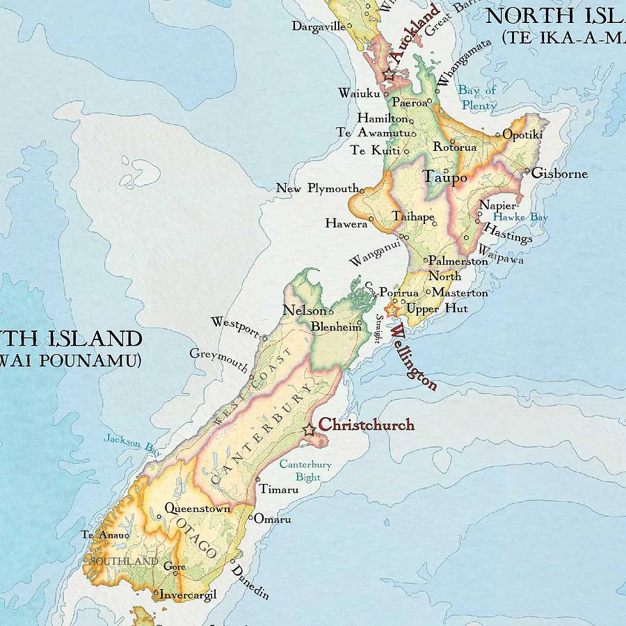 It is an image of Impeccable Printable Map of New Zealand