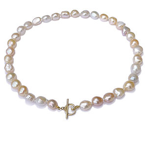 Baroque Pearl Necklace Diamond And Gold Clasp - necklaces & pendants