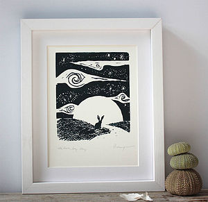 Little Hare Big Sky Original Screenprint - prints for christmas